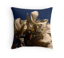 White Flowers - California Blue Sky Throw Pillow