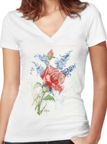 A Singing Rose Women's Fitted V-Neck T-Shirt