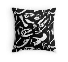 Dinosaur Bones (Black) Throw Pillow