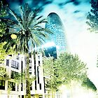 Barcelona night scene by ROGUEstudio