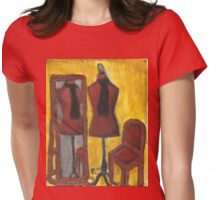 Red Mannequin Reflected Womens Fitted T-Shirt