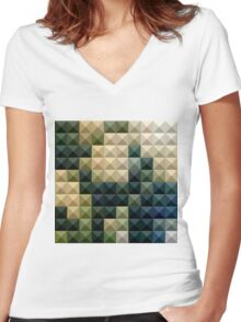 Castleton Green Abstract Low Polygon Background Women's Fitted V-Neck T-Shirt