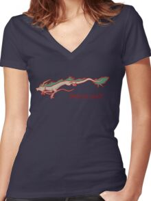 Spirited Away - Haku Dragon Women's Fitted V-Neck T-Shirt