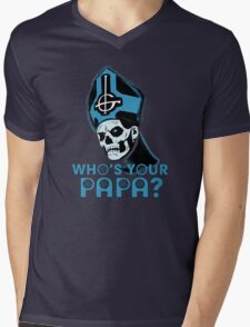 WHO'S YOUR PAPA? - blue Mens V-Neck T-Shirt