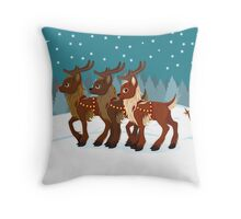 Reindeer in the Snow Throw Pillow