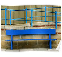 Blue Painted Bench and Railings Poster