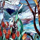 Rabbits in Spring Easter Stained Glass Alice in Wonderland Art by Rick Short
