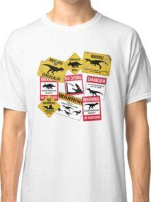 Dinosaur Caution Signs Classic T-Shirt