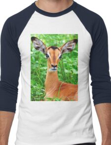 IMPALA BABY, EYES AND EARS! - BLACK-FACED IMPALA _Aepyceros melampus petersi Men's Baseball ¾ T-Shirt