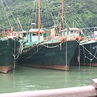 3 Fishing Boats at Tai O, Lantau Island, Hong Kong by Camelot