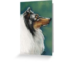 Rough Collie Pastel Painting Greeting Card
