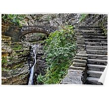 Stone Steps and Bridge Over The Waterfall Poster