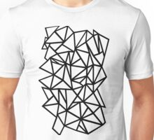 Abstraction Outline Thick Black on White Unisex T-Shirt