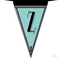 Manhattan 1920s Deco Blues Banner… Monogrammed alphabet letter initial Z by CecelyBloom