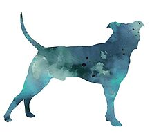 Blue pit bull watercolor art print painting by Joanna Szmerdt