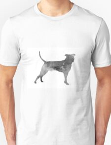 Pit bull silhouette watercolor art print painting T-Shirt