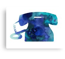 Blue old phone watercolor art print painting Canvas Print