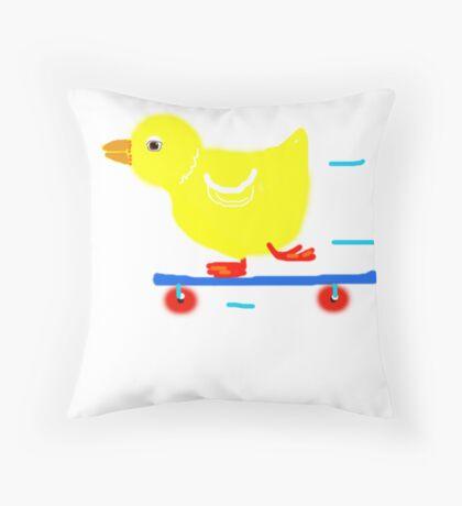 Ducky on skateboard   Throw Pillow