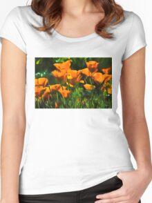 Brilliant Orange California Poppies - Impressions of Desert Spring Women's Fitted Scoop T-Shirt