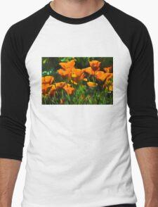 Brilliant Orange California Poppies - Impressions of Desert Spring Men's Baseball ¾ T-Shirt