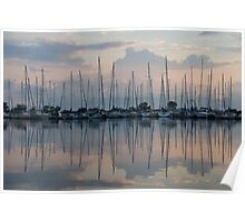 Pastel Sailboats Reflections at Dusk Poster