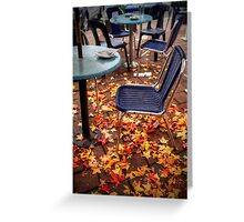 Autumn leaves outside a cafe in Stirling, Adelaide Hills Greeting Card