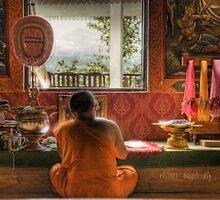 Writing monk by Laurent Hunziker