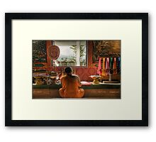 Writing monk Framed Print