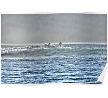 Surfers chatting on the waves Poster