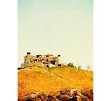 Villa in the Vineyard Watercolor Photographic Print