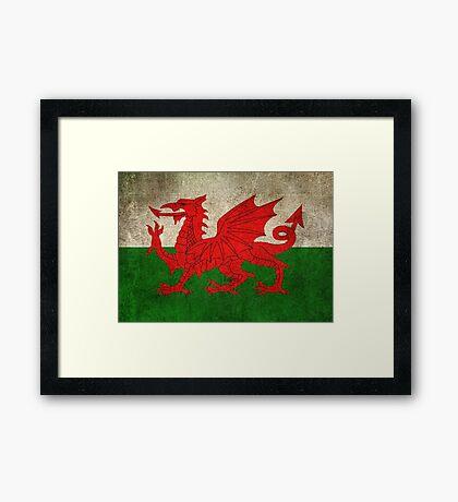 Old and Worn Distressed Vintage Flag of Wales Framed Print