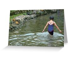 girl playing in the water Greeting Card