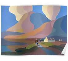 Dreamscape with cottage and two women by lake Poster