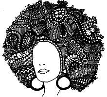 Pen & Ink  Drawing | Women's Afro  by tonijconroy