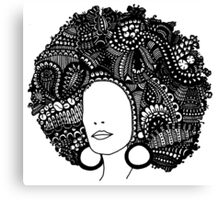 Pen & Ink  Drawing | Women's Afro  Canvas Print