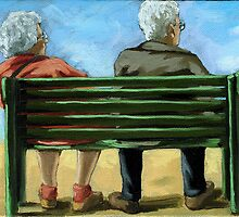 Waiting - figurative oil painting by LindaAppleArt