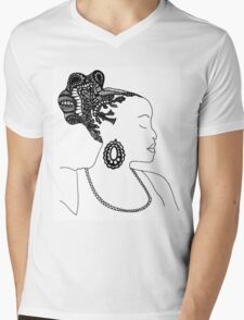 Pen & Ink  Drawing | Women's Updo. Mens V-Neck T-Shirt