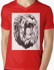 Roaring lion Mens V-Neck T-Shirt