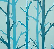 Suede Cool Blue Forest Branches Abstract Painting by Bridget Dedyuhina-Rymell