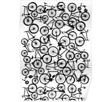 Pile of Black Bicycles Poster