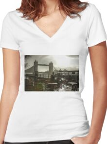 Sunny Rainstorm in London, England Women's Fitted V-Neck T-Shirt