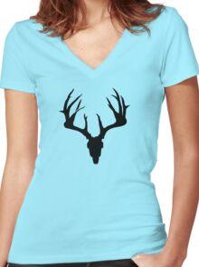 Deer Skull Women's Fitted V-Neck T-Shirt