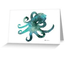 Octopus silhouette watercolor minimalist painting Greeting Card