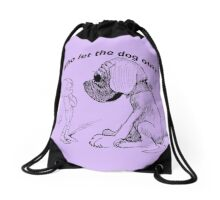 Who let the dog out, black version Drawstring Bag