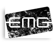 EMG Pickups distressed logo Black Canvas Print