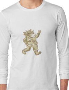 Santa Claus Walking Waving Etching Long Sleeve T-Shirt