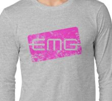 EMG Pickups distressed logo Pink Long Sleeve T-Shirt