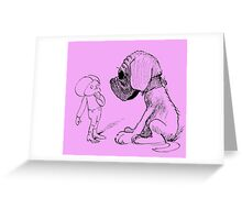 Who let the dog out, black Greeting Card