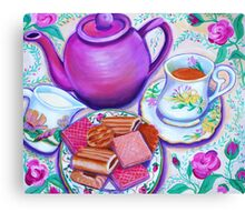 Pink Tea with Roses Canvas Print