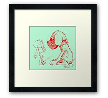Who let the dog out, red Framed Print